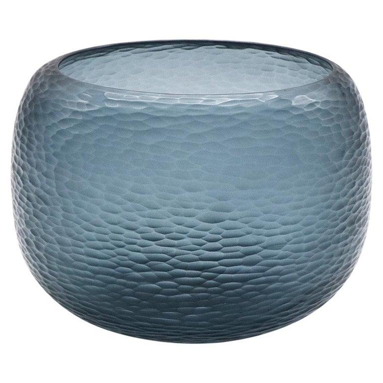 21st Century by Micheluzzi Glass Puffo Dark Blue Vase Handmade Murano Glass For Sale