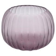 21st Century by Micheluzzi Glass Puffo Light Amethyst Vase Handmade Murano Glass