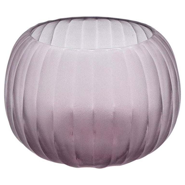 21st Century by Micheluzzi Glass Puffo Light Amethyst Vase Handmade Murano Glass For Sale