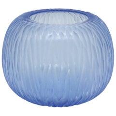21st Century by Micheluzzi Glass Puffo Light Blue Vase Handmade Murano Glass