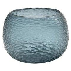 21st Century by Micheluzzi Glass Puffo Ocean Blue Vase Handmade Murano Glass