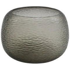 21st Century by Micheluzzi Glass Puffo Silver Grey Vase Handmade Murano Glass
