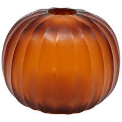 21st Century by Micheluzzi Glass Riccio Amber Vase Handmade Murano Glass
