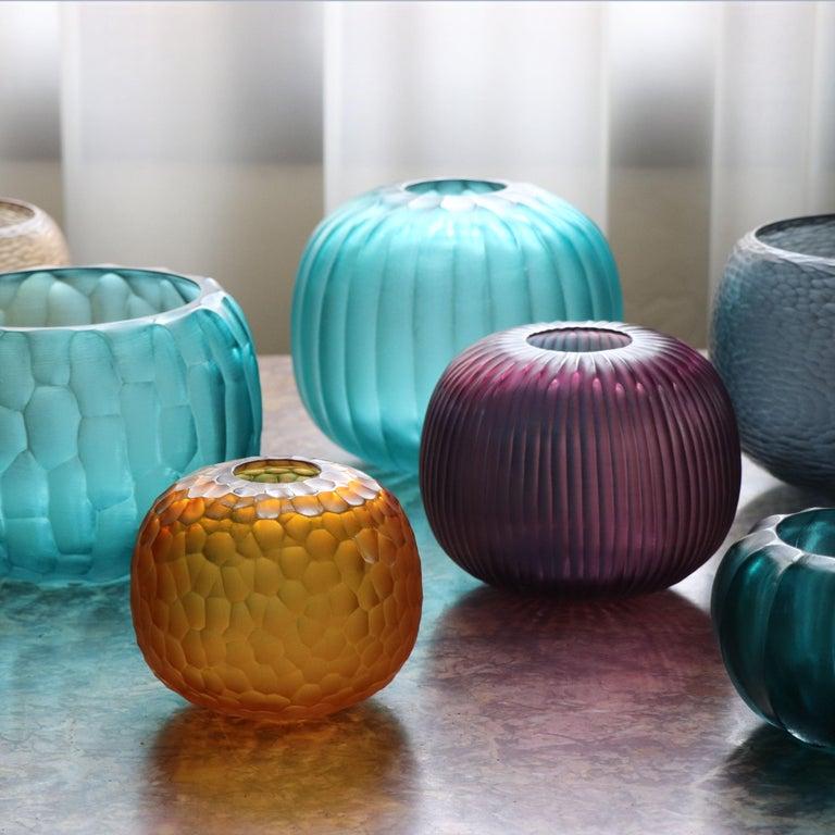 Contemporary 21st Century by Micheluzzi Glass Riccio Amethyst Vase Handmade Murano Glass For Sale