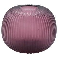 21st Century by Micheluzzi Glass Riccio Amethyst Vase Handmade Murano Glass