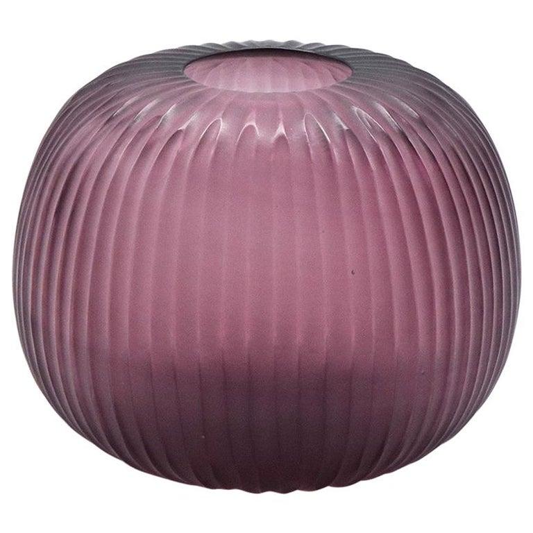21st Century by Micheluzzi Glass Riccio Amethyst Vase Handmade Murano Glass For Sale