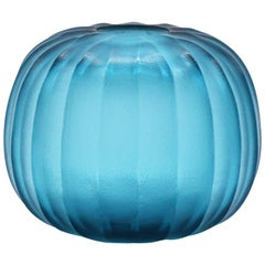 21st Century by Micheluzzi Glass Riccio Aquamarine Vase Handmade Murano Glass
