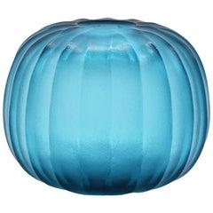 21st Century by Micheluzzi Glass Riccio Aquamarine Vase Handmade Murano Glass