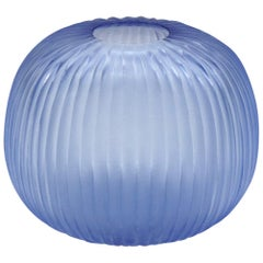 21st Century by Micheluzzi Glass Riccio Light Blue Vase Handmade Murano Glass