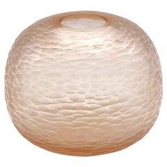 21st Century by Micheluzzi Glass Riccio Light Pink Vase Handmade Murano Glass
