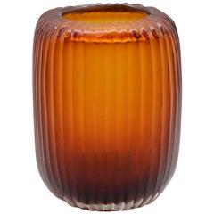 21st Century by Micheluzzi Glass Rullo Amber Vase Handmade Murano Glass
