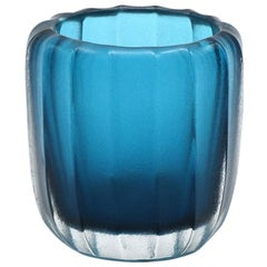 21st Century by Micheluzzi Glass Rullo Aquamarine Vase Handmade Murano Glass