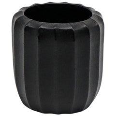 21st Century by Micheluzzi Glass Rullo Black Vase Handmade Murano Glass