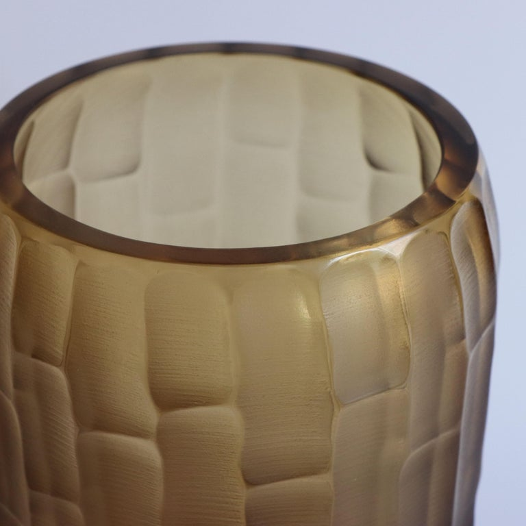 21st Century by Micheluzzi Glass Rullo Tall Honey Vase Handmade Murano Glass In New Condition For Sale In Venice, IT