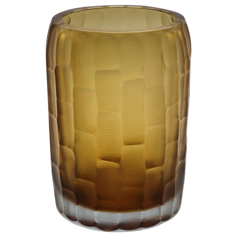 21st Century by Micheluzzi Glass Rullo Tall Honey Vase Handmade Murano Glass For Sale