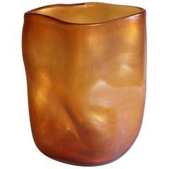 21st Century by Micheluzzi Glass Sacco Amber Vase Handmade Murano Glass