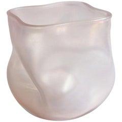 21st Century by Micheluzzi Glass Sacco Light Pink Vase Handmade Murano Glass