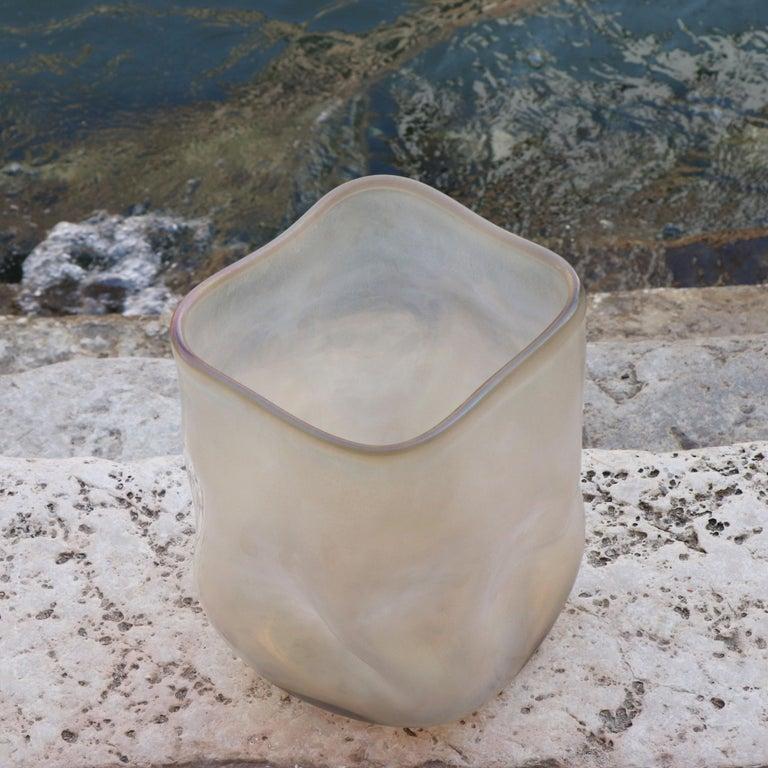 Italian 21st Century by Micheluzzi Glass Sacco Pale Gold Vase Handmade Murano Glass For Sale
