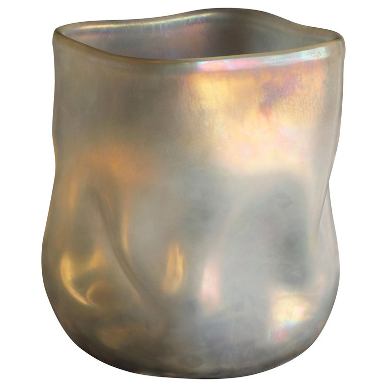 21st Century by Micheluzzi Glass Sacco Pale Gold Vase Handmade Murano Glass For Sale