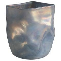 21st Century by Micheluzzi Glass Sacco Silver Grey Vase Handmade Murano Glass