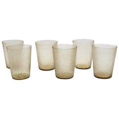 21st Century by Micheluzzi Glass, Six Glasses Handmade Murano Glass, Glassware