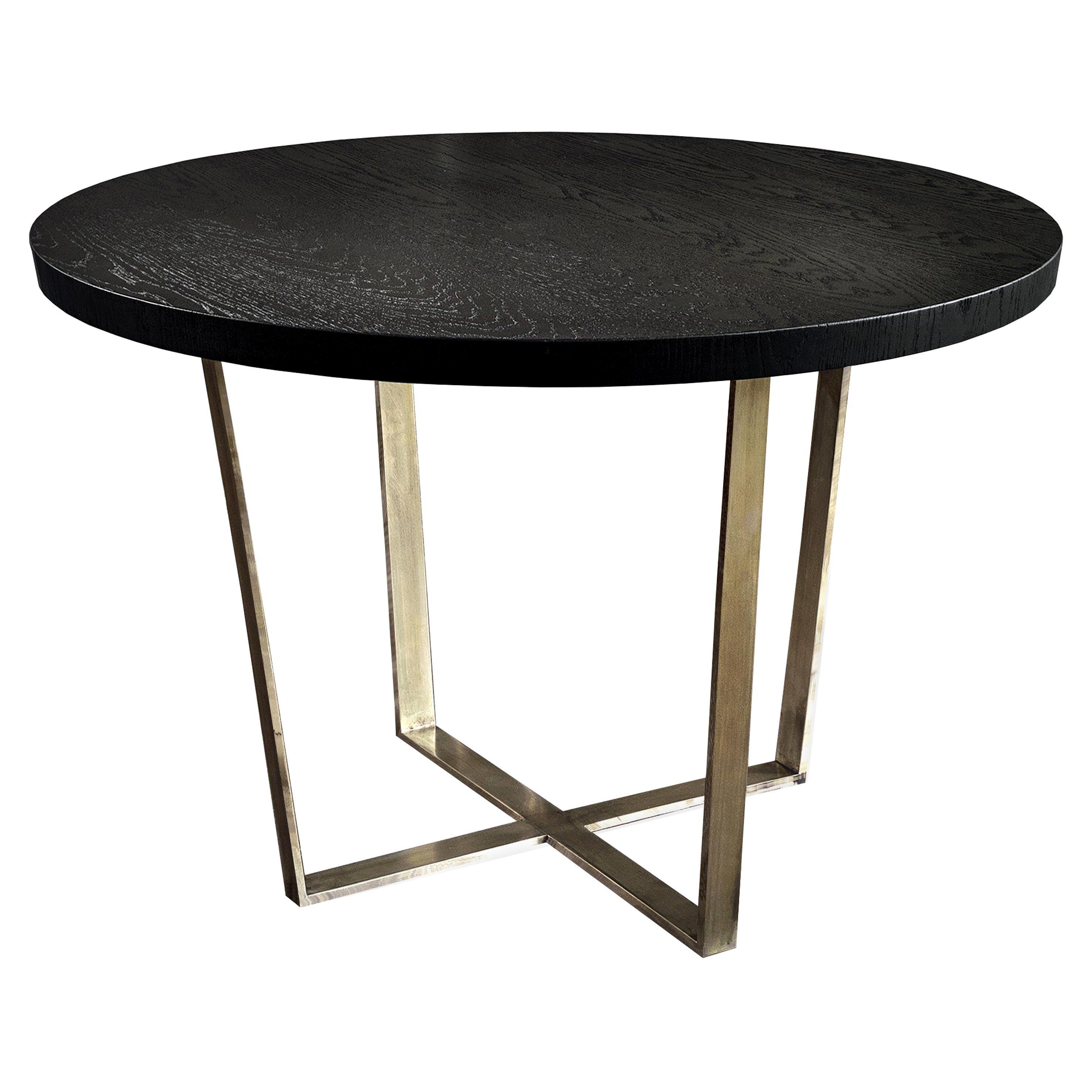21st Century by Pelizzari Studio Black Oak Wood Table Etched Brass Legs