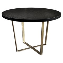 21st Century by Pelizzari Studio Black Oak Wood Table Etched Brass Legs