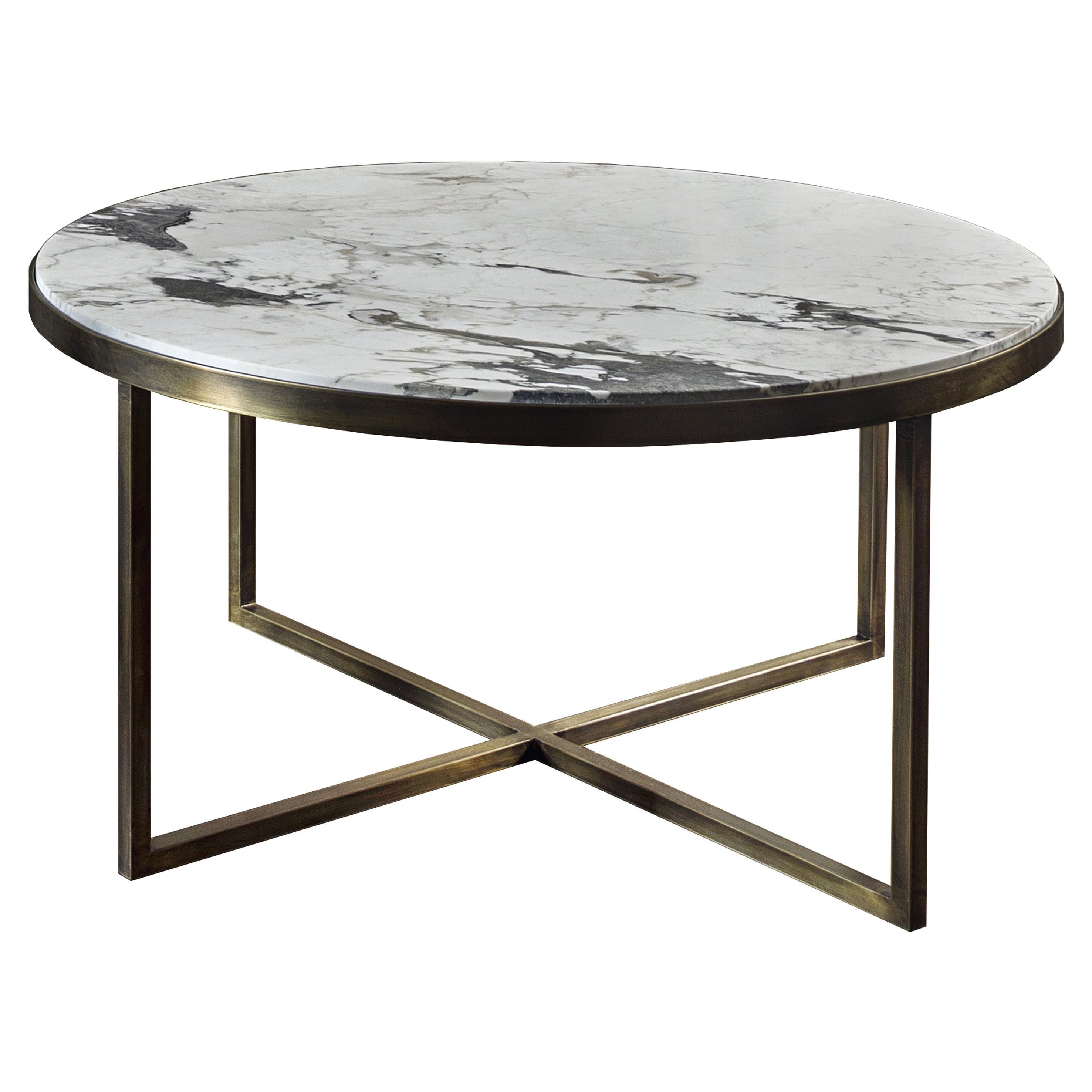 21st Century by Pelizzari Studio Calacatta Coffee Table Natural Brass Legs