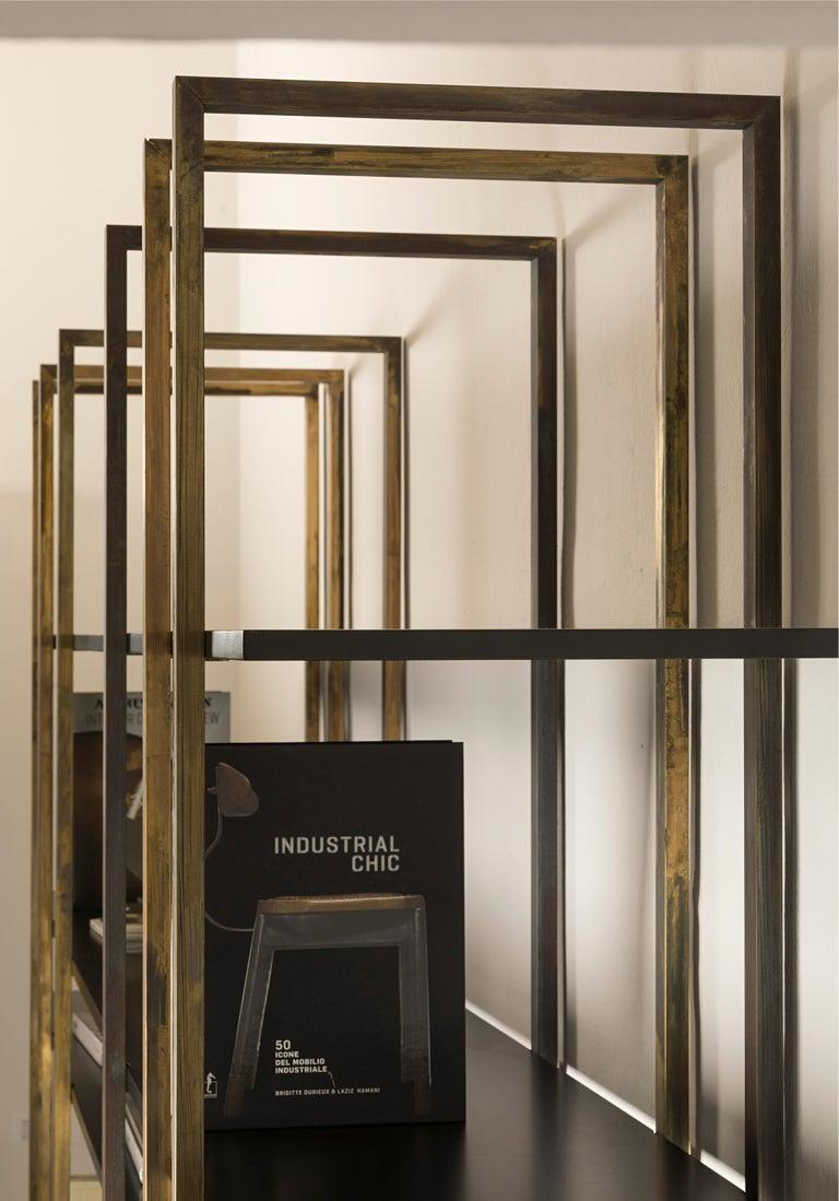 21st Century by Pelizzari Studio Makassar Ebony Bookcase Etched Brass Legs For Sale 3