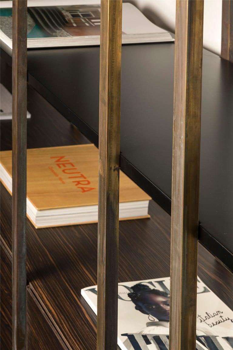 21st Century by Pelizzari Studio Makassar Ebony Bookcase Etched Brass Legs For Sale 4