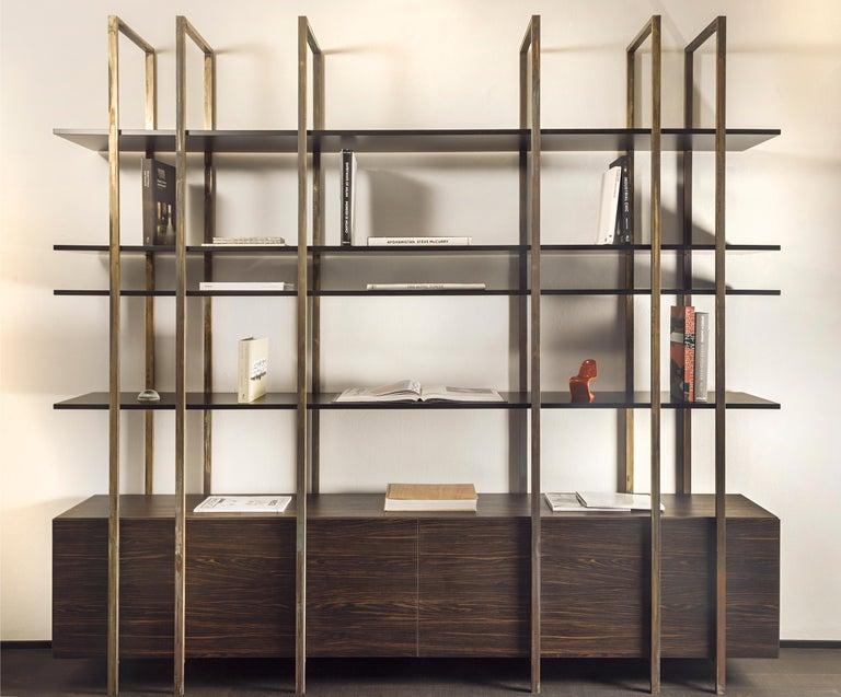 21st Century by Pelizzari Studio Makassar Ebony Bookcase Etched Brass Legs For Sale 6