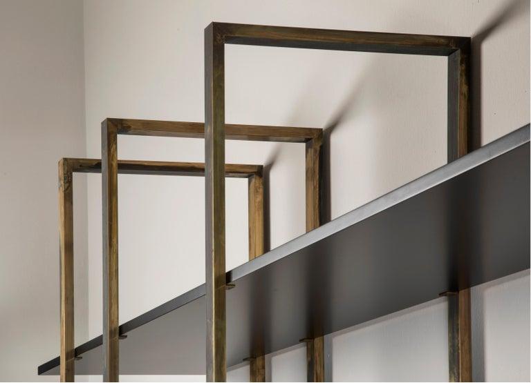 Modern 21st Century by Pelizzari Studio Makassar Ebony Bookcase Etched Brass Legs For Sale