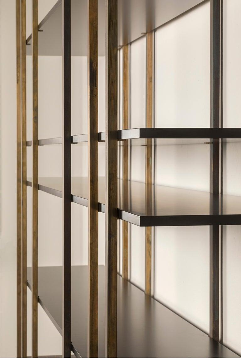 Italian 21st Century by Pelizzari Studio Makassar Ebony Bookcase Etched Brass Legs For Sale