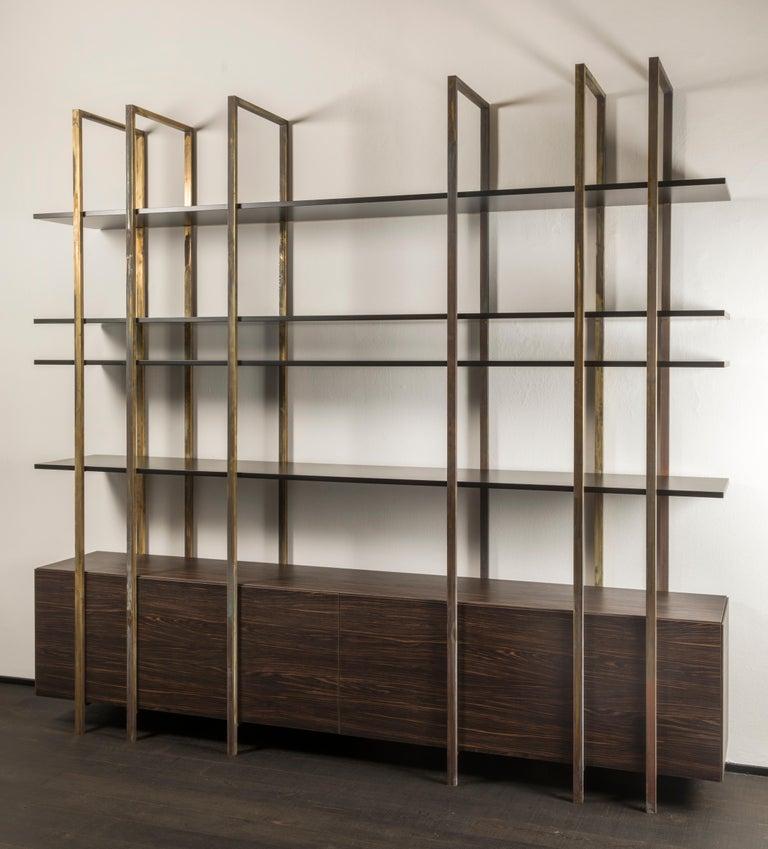 21st Century by Pelizzari Studio Makassar Ebony Bookcase Etched Brass Legs In New Condition For Sale In Brescia, IT