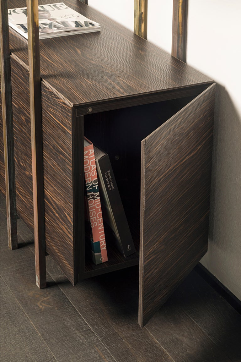 Contemporary 21st Century by Pelizzari Studio Makassar Ebony Bookcase Etched Brass Legs For Sale