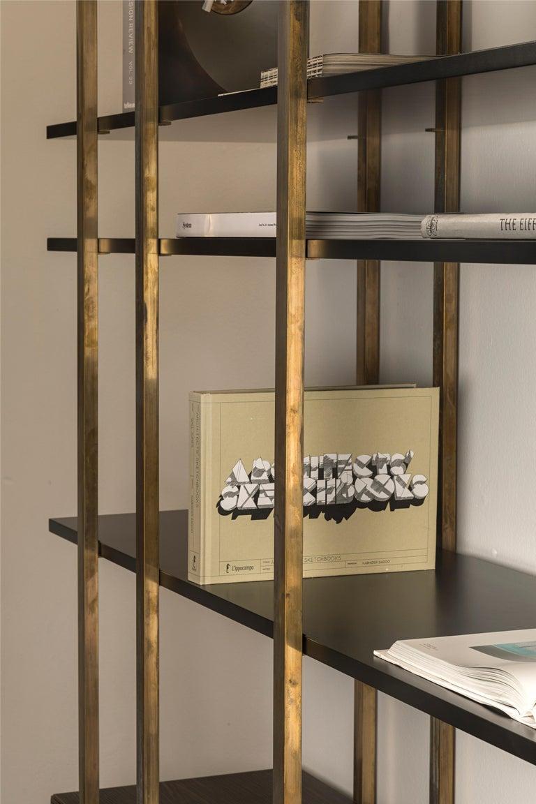 21st Century by Pelizzari Studio Makassar Ebony Bookcase Etched Brass Legs For Sale 1