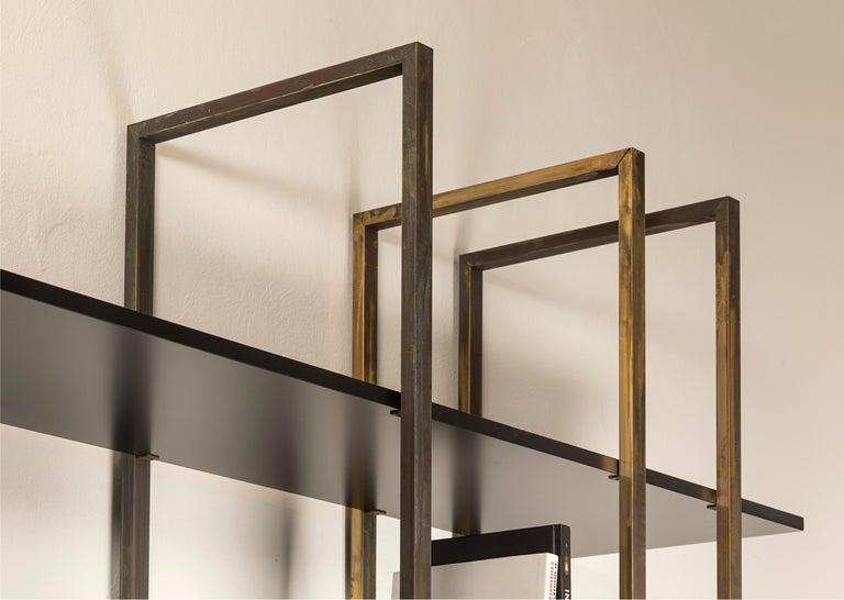 21st Century by Pelizzari Studio Makassar Ebony Bookcase Etched Brass Legs For Sale 2