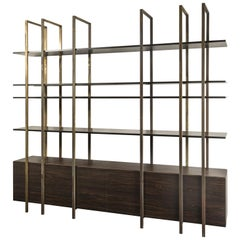 21st Century by Pelizzari Studio Makassar Ebony Bookcase Etched Brass Legs