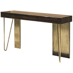 21st Century by Pelizzari Studio Makassar Ebony Consolle Etched Brass Legs