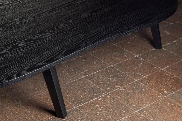Blackened 21st Century by Pelizzari Studio Oak Wood Coffee Table Black For Sale