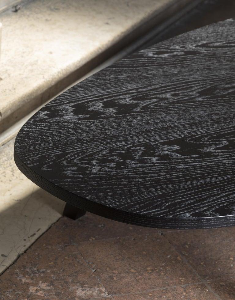 21st Century by Pelizzari Studio Oak Wood Coffee Table Black For Sale 1
