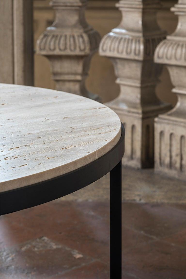 Italian 21st Century by Pelizzari Studio Travertino Coffee Table Natural Black Iron Legs For Sale