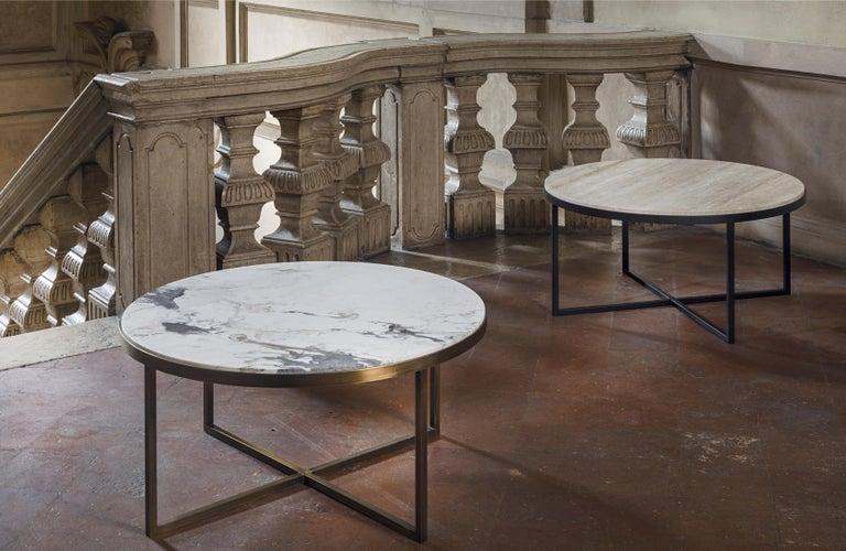Contemporary 21st Century by Pelizzari Studio Travertino Coffee Table Natural Black Iron Legs For Sale