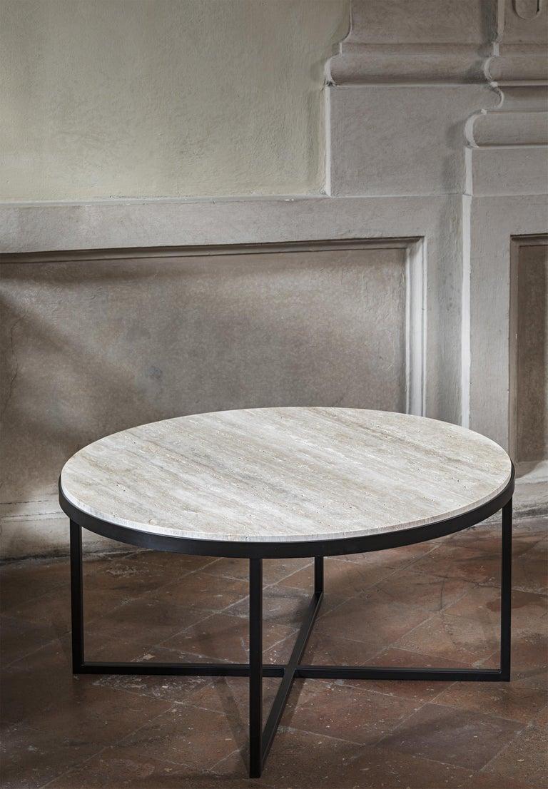 Glazed 21st Century by Pelizzari Studio Travertino Coffee Table Natural Black Iron Legs For Sale