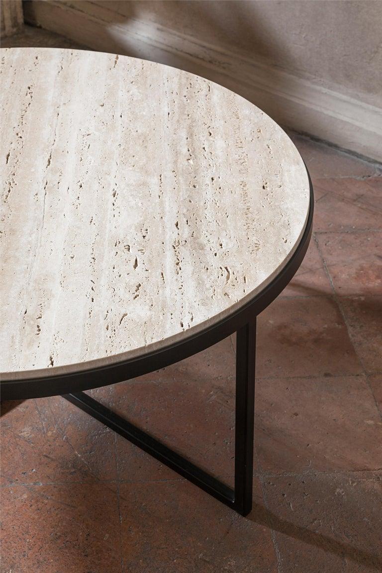Modern 21st Century by Pelizzari Studio Travertino Coffee Table Natural Black Iron Legs For Sale