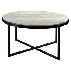 21st Century by Pelizzari Studio Travertino Coffee Table Natural Black Iron Legs