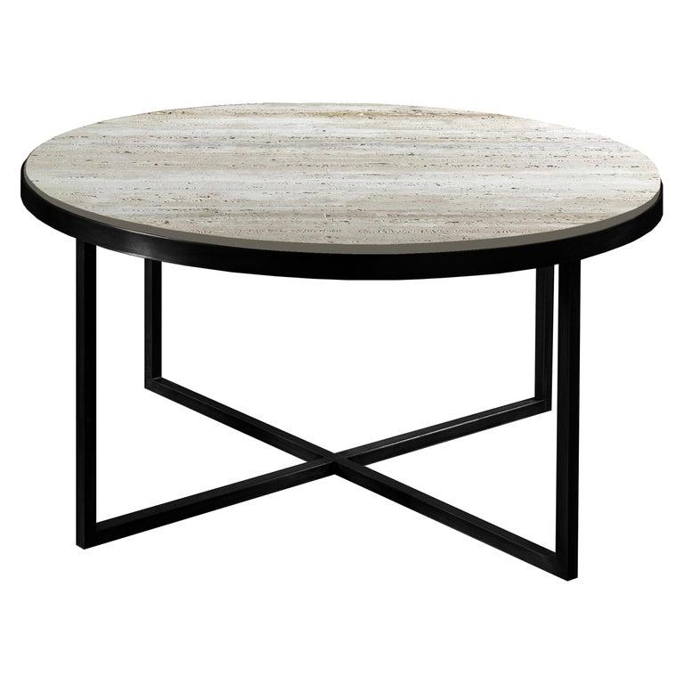 21st Century by Pelizzari Studio Travertino Coffee Table Natural Black Iron Legs For Sale
