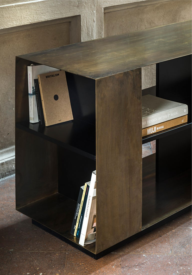 Modern 21st Century by Pelizzari Studio Wood Black Lacquered Bookcase Etched Brass Skin For Sale