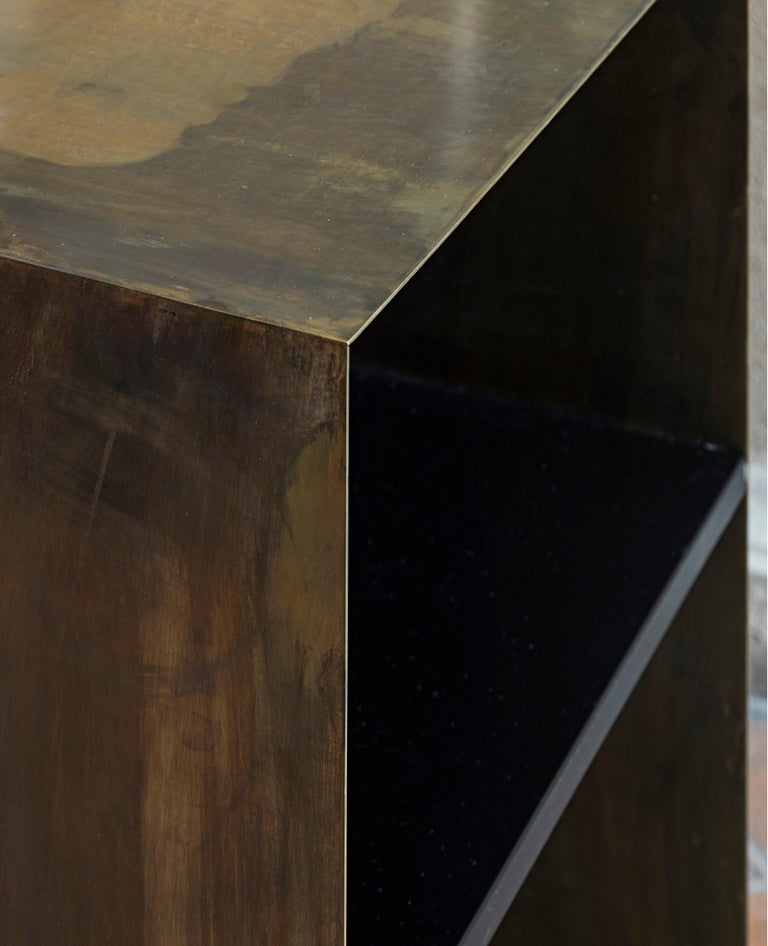 Italian 21st Century by Pelizzari Studio Wood Black Lacquered Bookcase Etched Brass Skin For Sale