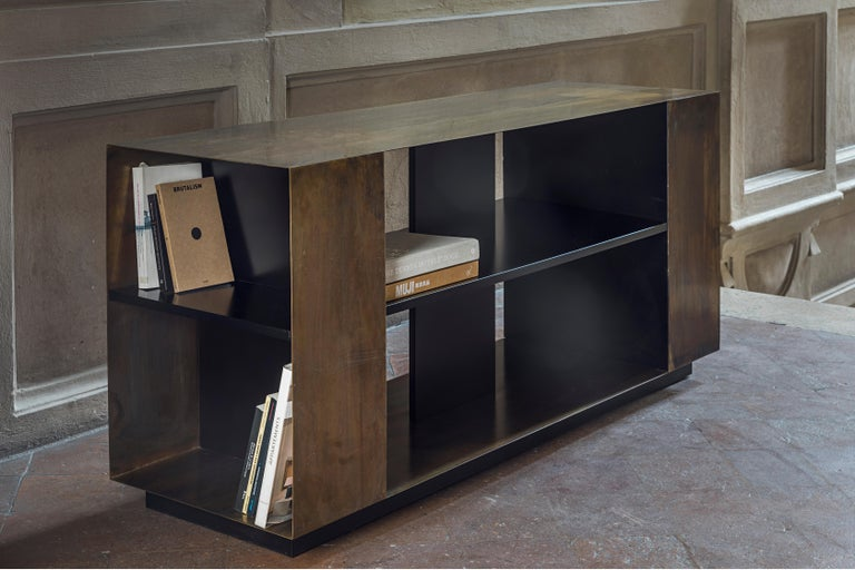Contemporary 21st Century by Pelizzari Studio Wood Black Lacquered Bookcase Etched Brass Skin For Sale